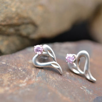 Sterling Silver Small Open Hear Stud Earrings with Pink Stone