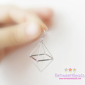 Pyramid Earrings, Double Pyramids, Triangle Earrings, Hollow Geometric Earrings, Triangular, 3D Earrings, Silver Dull, Gift Box Included
