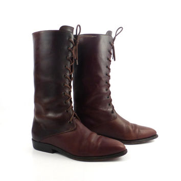 Granny Boots Vintage 1980s Flat Brown Leather  Cole Haan Lace Up  Women's 8 1/2