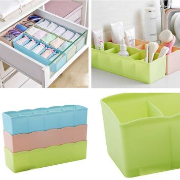 5 Cells Plastic Clothes Storage Box Organizer  Tie Bra Socks Drawer Cosmetic Divider Tidy Organization 3MY23