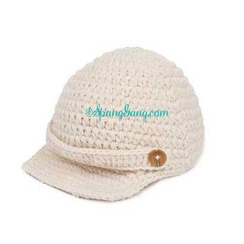 Baby Crochet Newsboy Hat Photo Prop, Knitted Cap