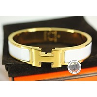 Authentic New Hermes H700001f Clic Clac H 0.5in PM White Enamel Bracelet Ghw