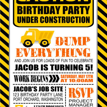 Construction Invitation for Birthday or Baby Shower- DIY Printable