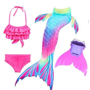 Cool Children Swimming Mermaid Tails With Monofin Fin Cosplay Costume Girls Kids Swimsuit Ariel Swimmable Mermaid Tail for SwimmingAT_93_12