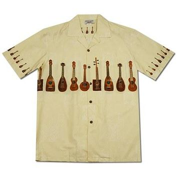 Ukulele Melody White Hawaiian Border Aloha Shirt