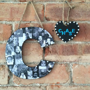 Hanging Photo Letter, Name Plaque, Door Sign, Birthday Gift, Christening Gift, Nursery Decoration, Hanging Letter, Wall Letter, Family Decor