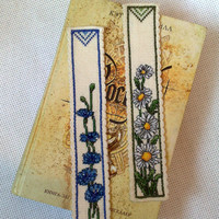 Bookmark - cross-stitch - daisy chain- cornflowers - flowers - Gifts - Present OOAK