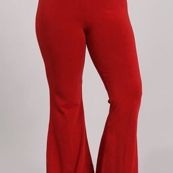 Chatoyant Plus Size Mineral Wash Bell Bottoms Red