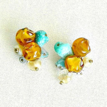 Hattie Carnegie Earrings, Vintage Cluster Earrings, Beaded Clip On Earrings, Fall Earrings, Signed Designer Earrings.