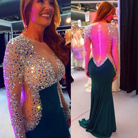 Hot 2016 Long Sleeve Sheer Back Beaded Cheap Evening Dresses Prom Dress With Full Beaded Tulle Party Dress Formal Gown PD19
