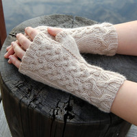 Cable knit fingerless gloves, light brown wool arm warmers / wrist warmers