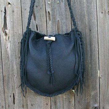 ON SALE Black leather tote Handmade tote Leather tote bag Large shoulder bag Black handbag