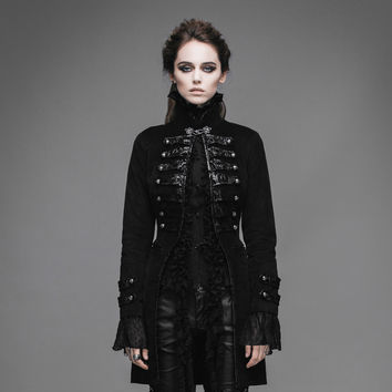 Steampunk Women Winter Coats Gothic Long Cotton Jacket Palace Stand Collar Winter Long Sleeve Coat Outwear