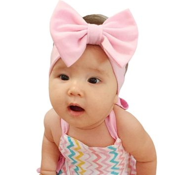 5'' Solid Cotton Bow Cute Baby Girl Child Infant Toddler Head Wraps Bandana Headband