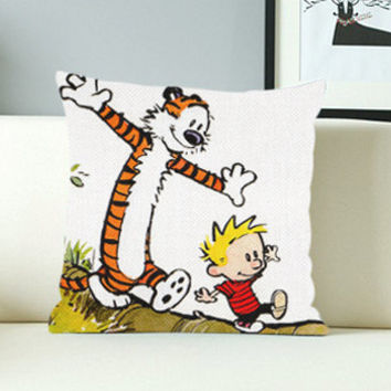 Calvin and Hobbes Case - Design Pillow Case with Black/White Color.