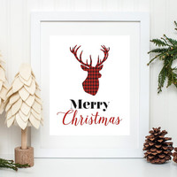 Christmas Art Print, Red Plaid Deer, Deer Art Print, Deer Antlers, Christmas Deer, Christmas Wall Art, Holiday Art, Merry Christmas