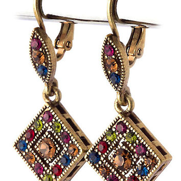 antiqued gold jeweltone crystal leverback earrings