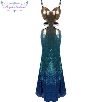 Angel-fashions Sequined Gradual Sash Hollow Out Celebrity Dress Long Evening Dresses Blue 258