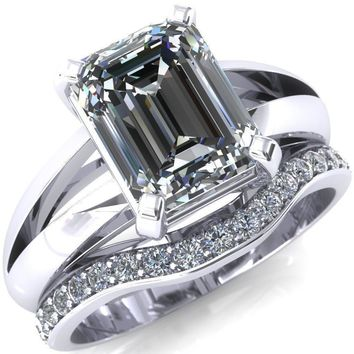 Onica Radiant Moissanite Shaped Split Shank High Setting Cathedral Engagement Ring