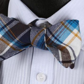 Blue Brown Plaid Cotton Self-Tie BowTie Pocket Square