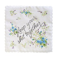 Keep Your Shit Together Retro Floral Print Cotton Handkerchief
