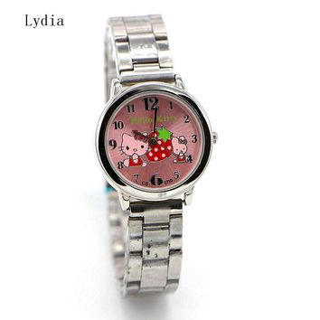 hot sales Fashion Women stainless steel Watch Girls Hello Kitty quartz Watch for Cartoon Watches 1pcs
