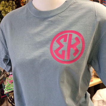 Custom Sorority Shirts with Your Greek in Natural Circle on a Comfort Colors Short Sleeve