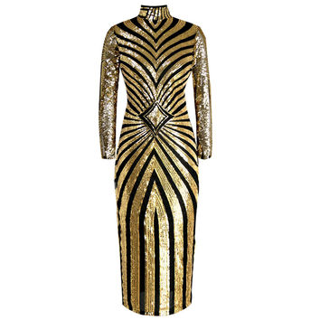 Gold and Black Long Sleeve Maxi Dress