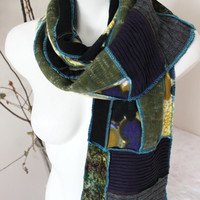 Hippie Scarf, Extra Long Scarf, Handmade boho scarf,  Purple black green yellow scarf, Unique scarf, Unisex Christmas gifts, Patchwork scarf