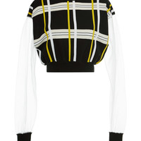 Jacquard Plaid Long Sleeve Crew Neck Sweater | Moda Operandi