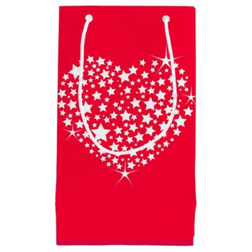 Red And White Glitter Heart Small Gift Bag