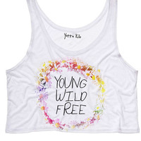 Daisy Crown Young Wild Free Crop Tank Top
