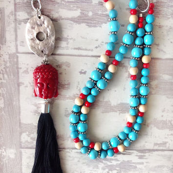 Long tassel necklace with buddha head beaded necklace yoga jewelry boho necklace turquoise and red layering necklace, gypsy style, sky blue