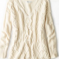 AEO Women's Cable Knit V-neck Sweater (Cream)