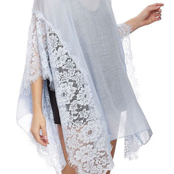 Poncho Style Sheer Beach Cover Up with Lace