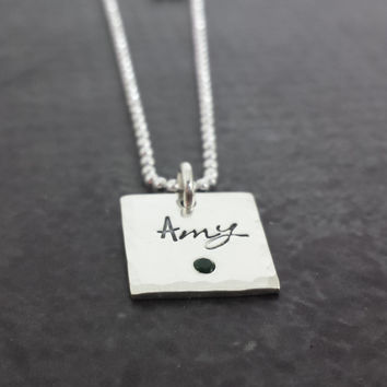 Personalized Square Birthstone Necklace