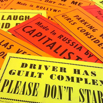 Vintage Bumper Sticker Lot - Set of 3 - Mystery Grab Bag - Witty Sayings - Sarcastic Remarks - Snark - Neon Sticker - Ephemera