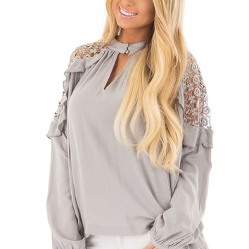 Stone High Neck Ruffle Top with Sheer Lace Detail