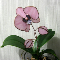 Stained glass orchid Pink glass flower Home decor 3d