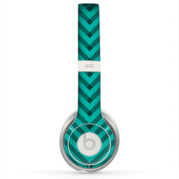 The Teal & Black Sketch Chevron Skin for the Beats by Dre Solo 2 Headphones
