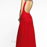 Long Open Back Dress with Cap Sleeves