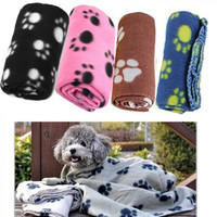 1X Warm Pet Small Medium Large Paw Print Pet Cat Dog Fleece Soft Blanket Bed Mat Free Shipping