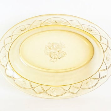 Vintage Federal Rosemary Vegetable Bowl, Yellow Oval Serving Bowl, Dutch Rose Topaz Depression Glass