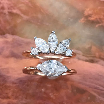 14k White Rose Gold 2 carat Diamond Ring size 6.25