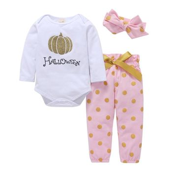 3Pcs Cute Newborn Baby Infant Girls Pumpkin Pattern Romper Polka Dot Pants Headband Outfit Cotton Clothing Sets Autumn 2018