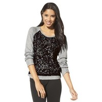 Mossimo® Women's Lace Front Sweatshirt -Grey