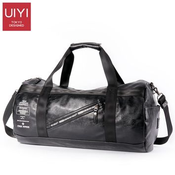 UIYI Men Soft PVC Travel Bag Classic High-Capacity handbag For Men Waterproof Shoulder Bags Luggage Travel Duffle # UYS7032