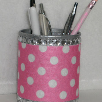 Polka Dot & Bling Princess Pen/Pencil Cup Holder