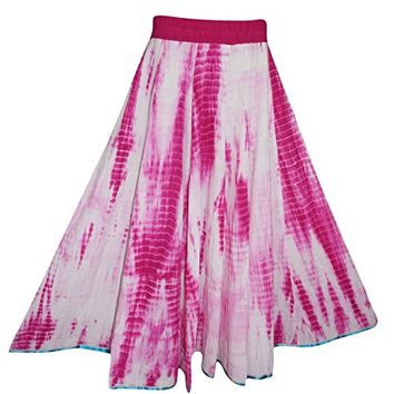 Mogul Interior Womens Peasant Gypsy Maxi Skirt Pink Tie- Dye Full Flared Cotton Long Skirts L: Amazon.ca: Clothing & Accessories
