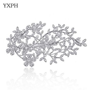 YXPH Twigs Haircombs Hairpins Hairwear Wedding Jewelry Bride Haircomb Rhinestone Non-nickel Silver Plated Accessories Combs